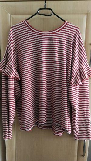 H&M Gestreept shirt wit-donkerrood