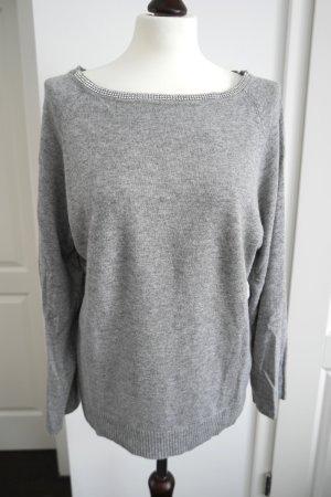 Jersey de cuello redondo gris claro-color plata tejido mezclado