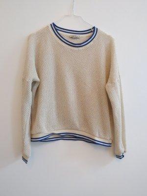 Wunderschöner Pullover Zara weiß / blau / Netzoptik