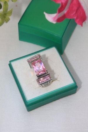 wunderschöner Ring * rosa Steine * Kristalle * gestempelt * 19 mm * ungetragen *