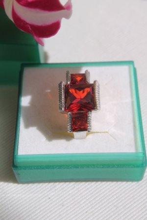 Anello argento-rosso