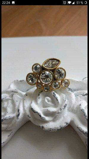 Pilgrim Bague incrustée de pierres blanc-doré