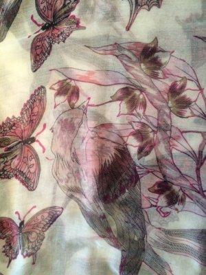 Wunderschöner Schal mit Vögel und Blumen Print  in 100% Viscose