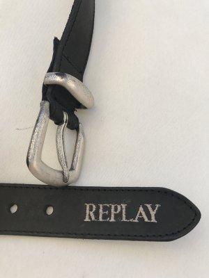 Wunderschöner schwarzer Replay-Gürtel * Echtleder * mit gesticktem Schriftzug