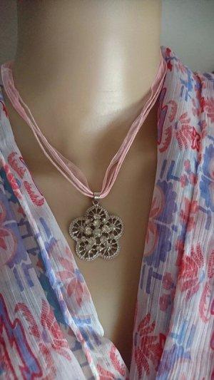 Colliers ras du cou argenté-rose métal