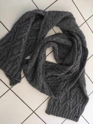 HUGO Hugo Boss Woolen Scarf grey-dark grey wool