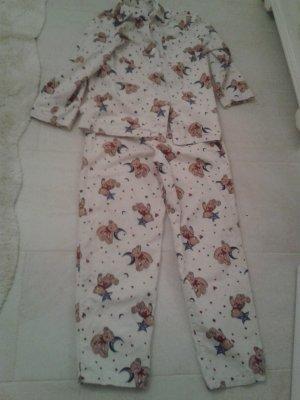 wunderschöner super weicher Schlafanzug / Hausanzug mit Bärchen Bären Sternen und Herzen