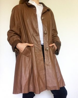 Vintage Manteau en cuir brun