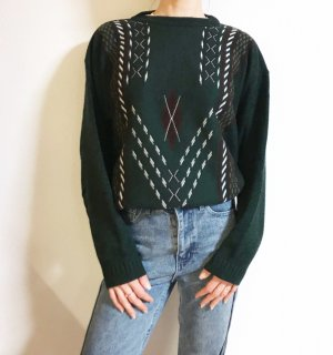 Vintage Oversized Sweater dark green-white