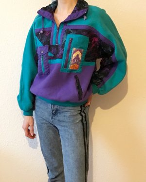 Vintage Pullover in pile turchese-lilla