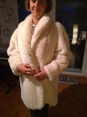 Veste de fourrure blanc cassé pelage