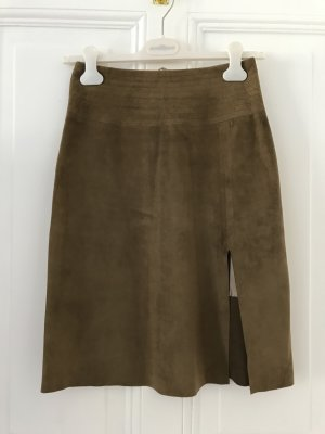 Marc Cain Leather Skirt brown suede