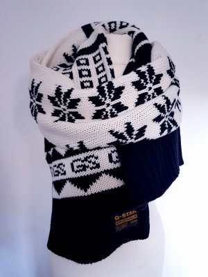 G-Star Knitted Scarf black-white wool