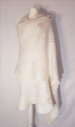 Sciarpa di lana bianco-bianco sporco Lana merino