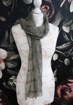 Silk Scarf khaki-green grey