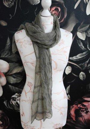 Bufanda de seda caqui-gris verdoso