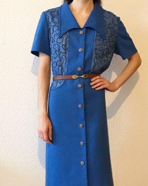 Wunderschönes 70 er Jahre Vintagekleid in blau mit Kragen