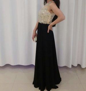 Wunderschönes Abendkleid in beige und schwarz