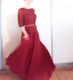 Wunderschönes Abendkleid von JJs House, rot, Pailletten, lang, Schärpe, Gr. 36/38