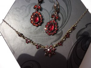 Collier Necklace gold-colored-dark red