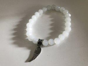 Wunderschönes Armband aus Ulexit Edelstein mit Flügel aus Edelstahl
