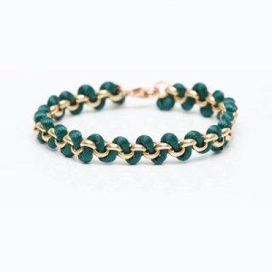 Wunderschönes Armband Freundschaftsband in Gold und Grün von Vitamin D Jewelry