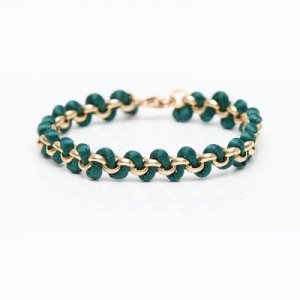 Armlet gold-colored-forest green silk