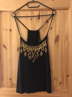 Even & Odd Spaghetti Strap Top black-gold-colored viscose