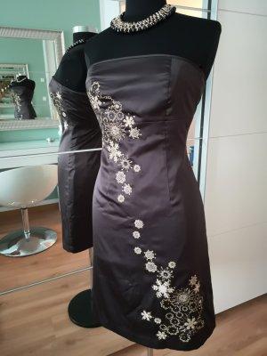 Vero Moda Vestido bandeau marrón oscuro tejido mezclado