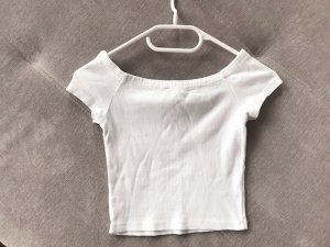 Zara Trafaluc Camisa recortada blanco