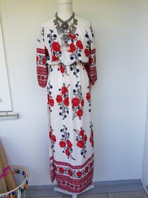 Robe longue blanc-rouge