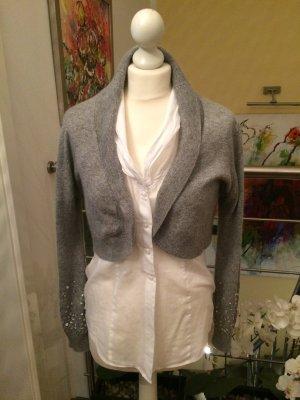 Torera de punto gris lana de angora