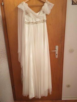 Vestido de novia blanco puro-color oro