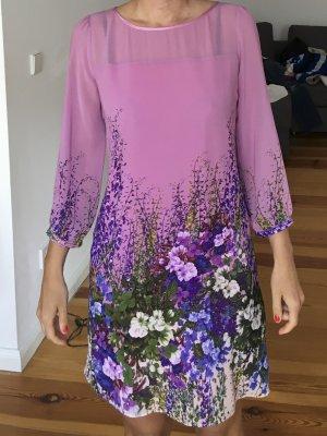 Wunderschönes Chiffon-Kleid mit Blumenmotiv, 3/4 Ärmel, rosa, Gr. 36/S