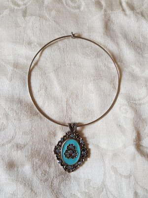 Collier Necklace silver-colored-light blue metal