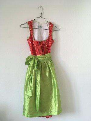 Vestido Dirndl rojo oscuro-verde hierba