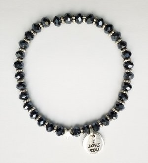 wunderschönes dunkelblaues Armband mit silberfarbenen Zwischenperlen, Stern  und Love Anhänger