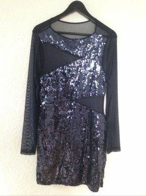 Wunderschönes , dunkelblaues Paillettenkleid mit transparenten Aussparungen