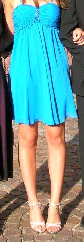 Wunderschönes, eisblaues, trägerloses Bandeaukleid Chiffonkleid Minikleid