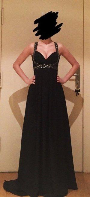 Wunderschönes Empire/Babydoll Abendkleid in schwarz mit silbernen Verzierungen