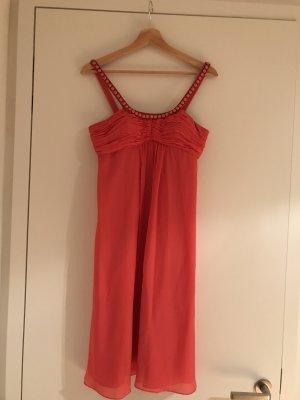 Wunderschönes festliches, knielanges Kleid in Koralle von Un Deux Trois in Grösse 36