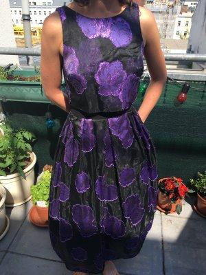 wunderschönes, festliches Organzakleid, lila-metallic schwarz