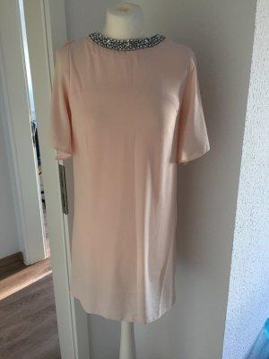 Wunderschönes Fließendes Kleid Nude mit Schmucksteinen