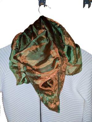 Wunderschönes glänzendes elegantes Tuch in orange grün (Wendetuch)