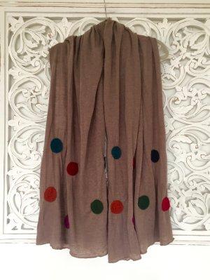 wunderschönes großes Tuch Schal * braun mit bunten Punkten * 80 x 200 cm