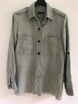 Zara Woman Camicia denim verde-grigio Cotone