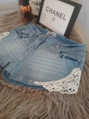 Blue Motion Denim Shorts azure-white cotton