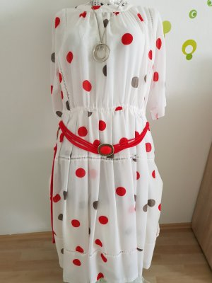 Shirtwaist dress red-white cotton