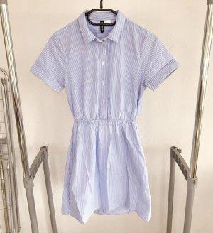 H&M Robe chemisier bleu acier-blanc