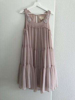 H&M Conscious Collection Babydoll Dress oatmeal-dusky pink